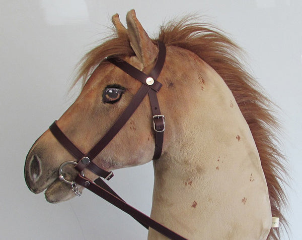 Strawberry Roan Hobby Horse open mouth with removable leather bridle