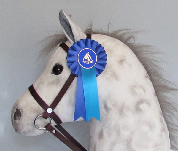 Rosette, show ribbon - Blue satin