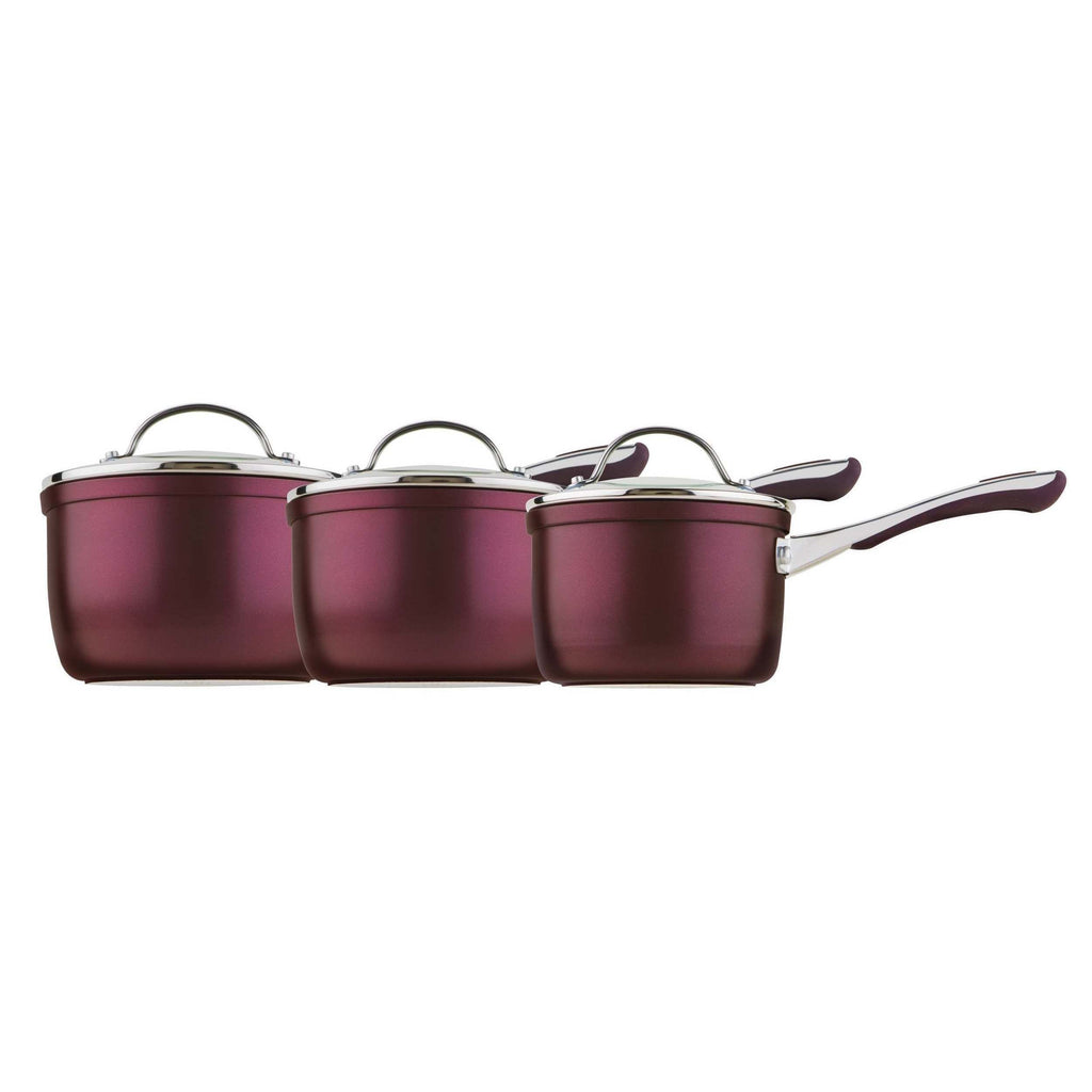 Prism Non Stick 3 Piece Cookware Set-Eggplant