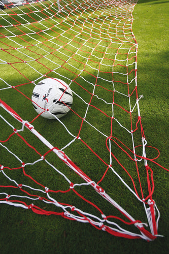 Precision Football Goalnets : 3.5mm Knotted 7.5m x 2.5m Royal/White
