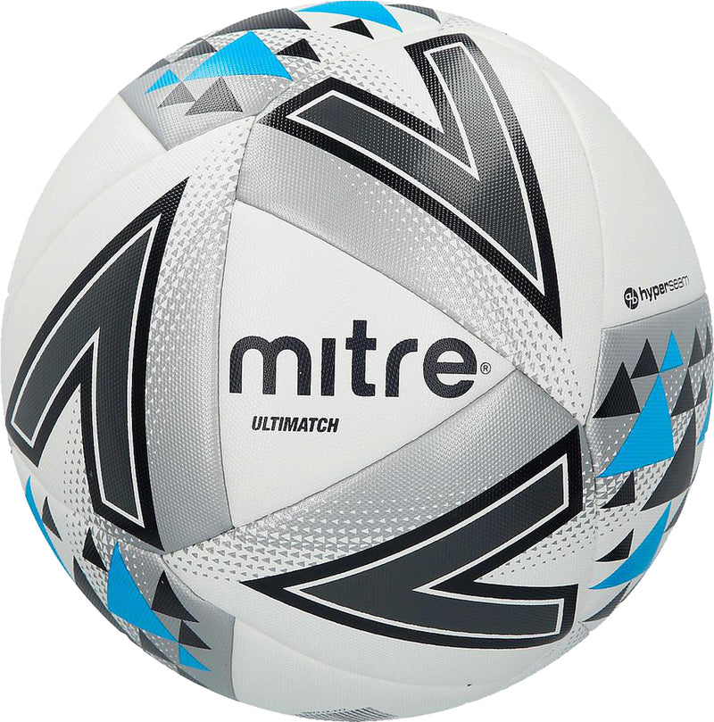 Mitre Ultimatch Match Football Ball White/Silver/Blue