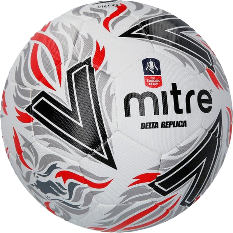 Mitre Delta Replica FA Football Ball White/Black/Red