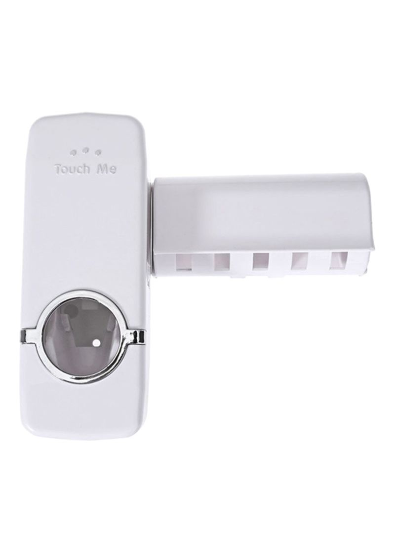 Automatic Toothpaste Dispenser And Toothbrush Holder White