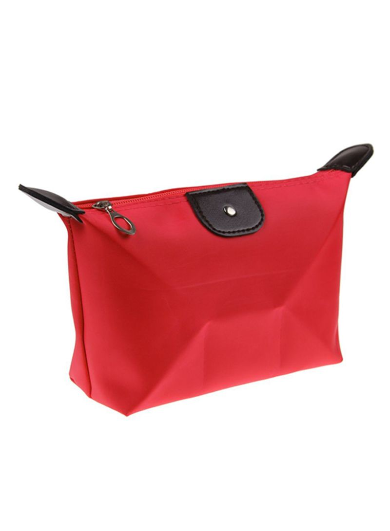 Waterproof Zipper Cosmetic Bag Red