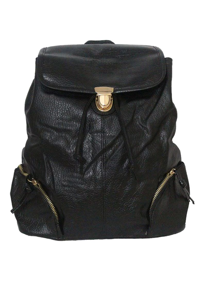 Synthetic Leather Draw String Closure Backpack