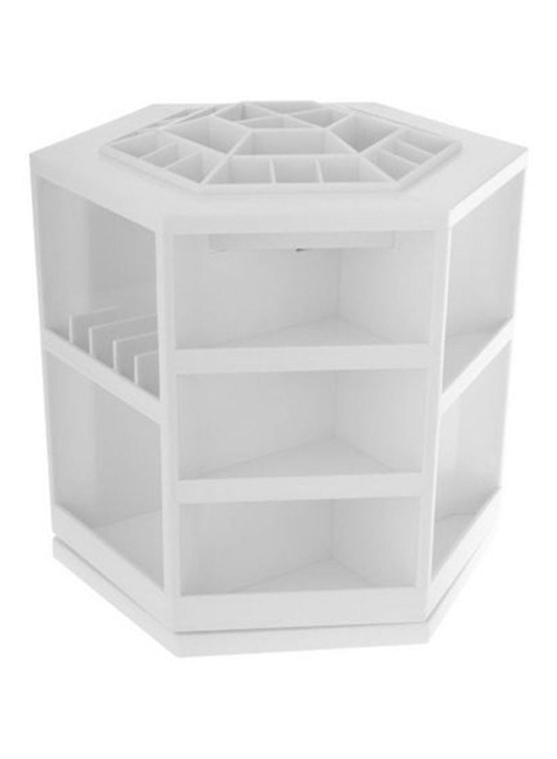 Table Top Rotating Cosmetics Organizer White