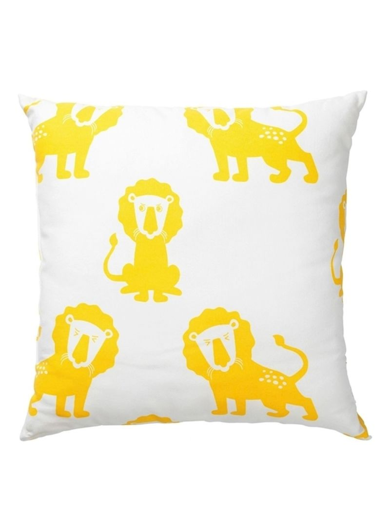 Lion Printed Cushion White/Yellow/Black 50x50centimeter