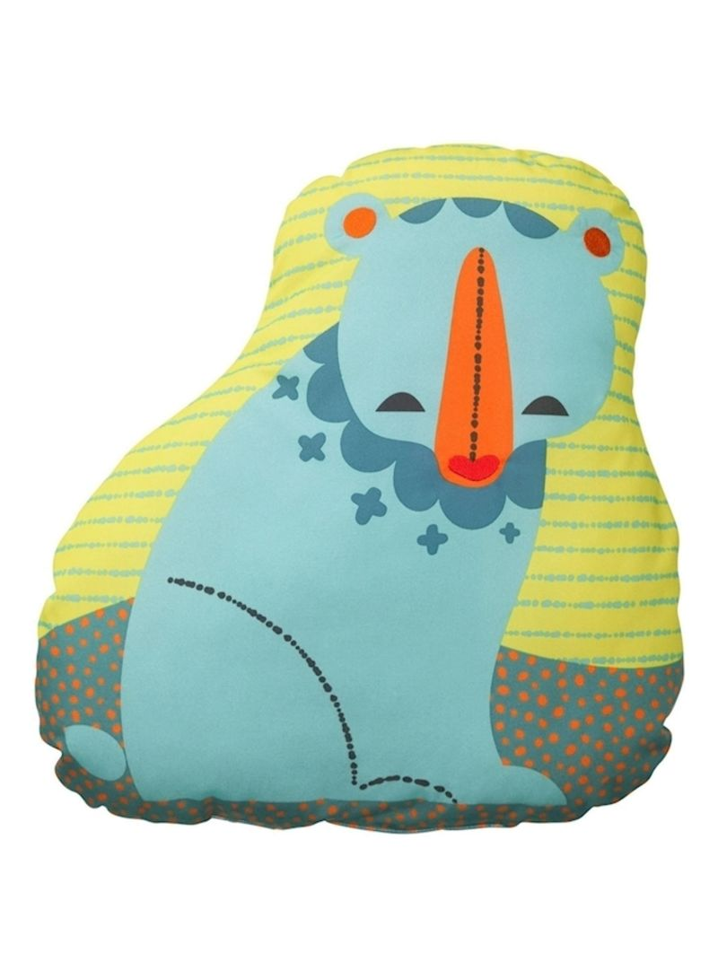 Bear Printed Cushion Polyester Yellow/Blue/Grey