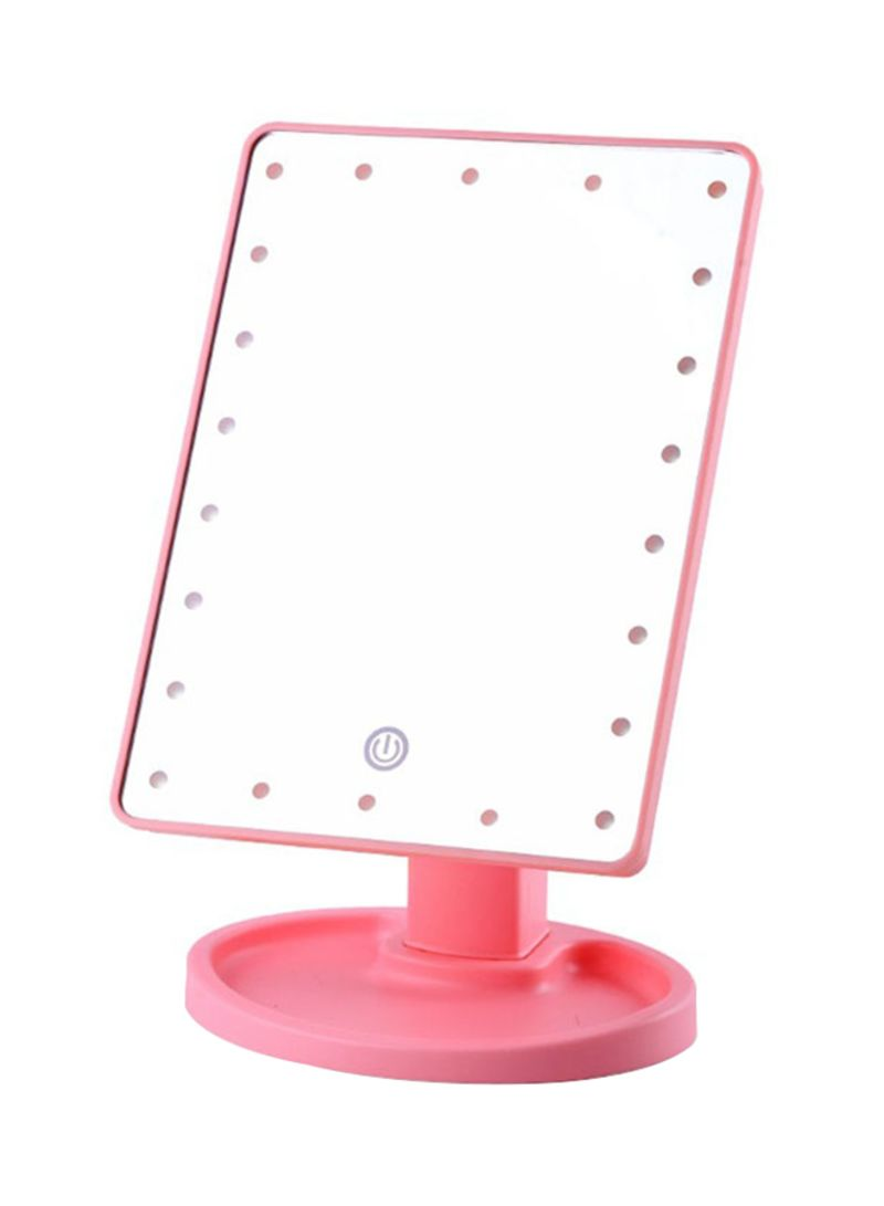 22 LED Square Multi-Function Makeup Mirror Pink