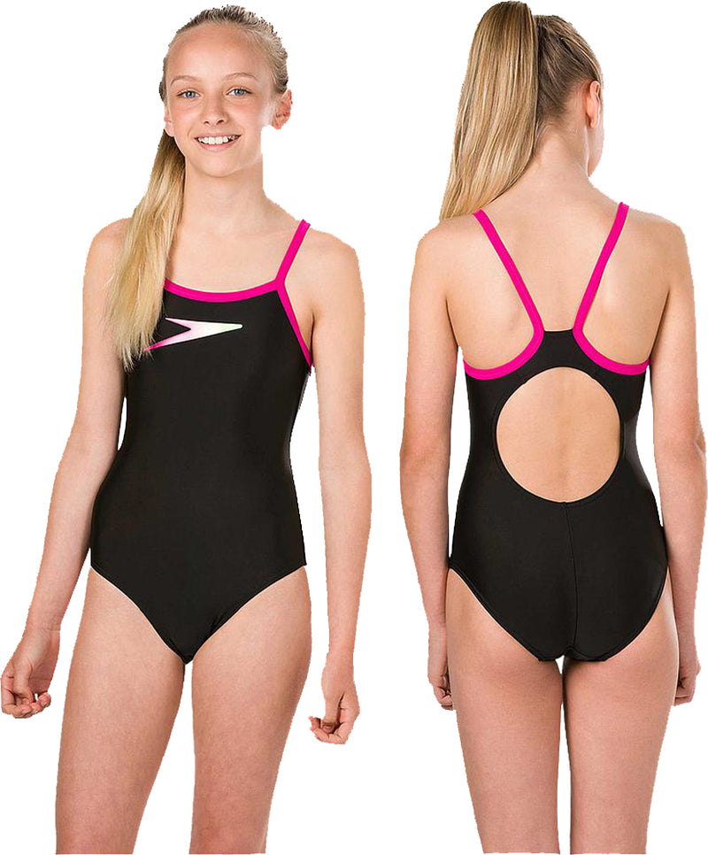 Speedo Boom Placement Muscleback Girls Swimsuit Black/Pink/Zest