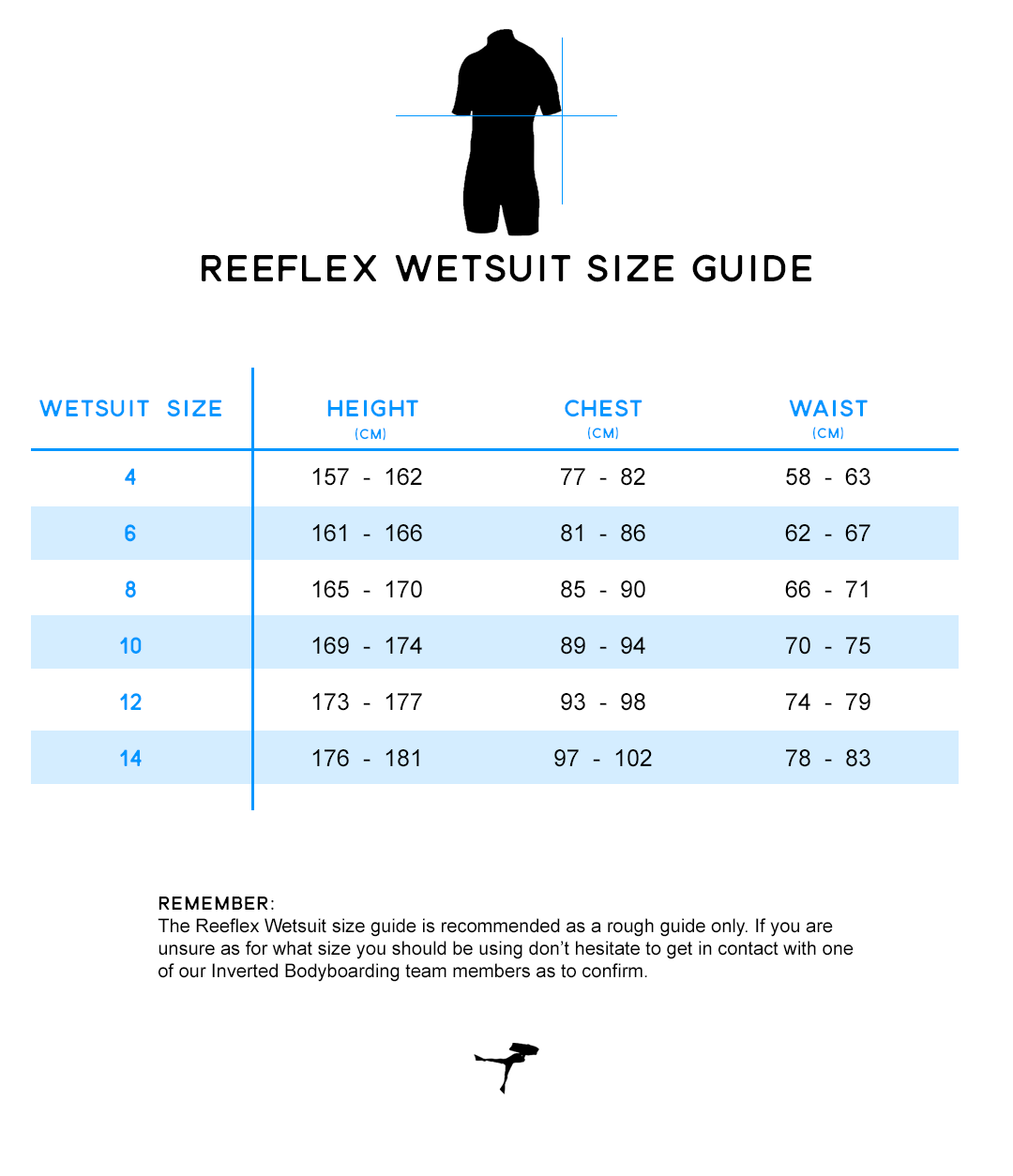 Reeflex Womens Size Guide at Inverted Bodyboarding