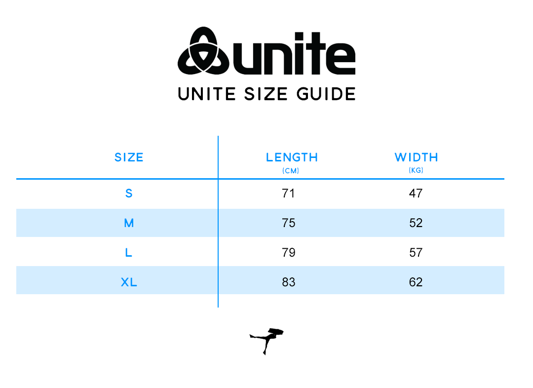 Unite Clothing Size Guide at Inverted Bodyboarding