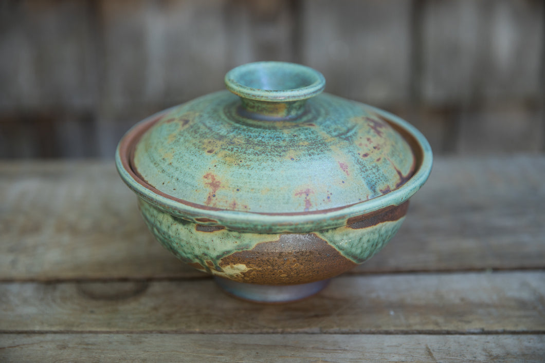 Lidded Serving Bowl in Turquoise