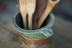 Oval Utensil Crock with Curly Handles