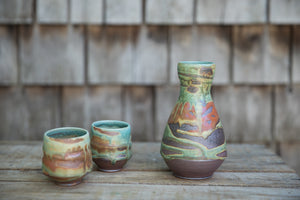 Sake Set in Turquoise and Rust, with 2 cups