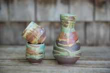 Load image into Gallery viewer, Sake Set in Turquoise and Rust, with 2 cups