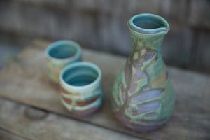 Sake Set in Turquoise, with 2 cups