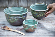 Load image into Gallery viewer, Nesting Bowl Set  in Turquoise, 3 pc.