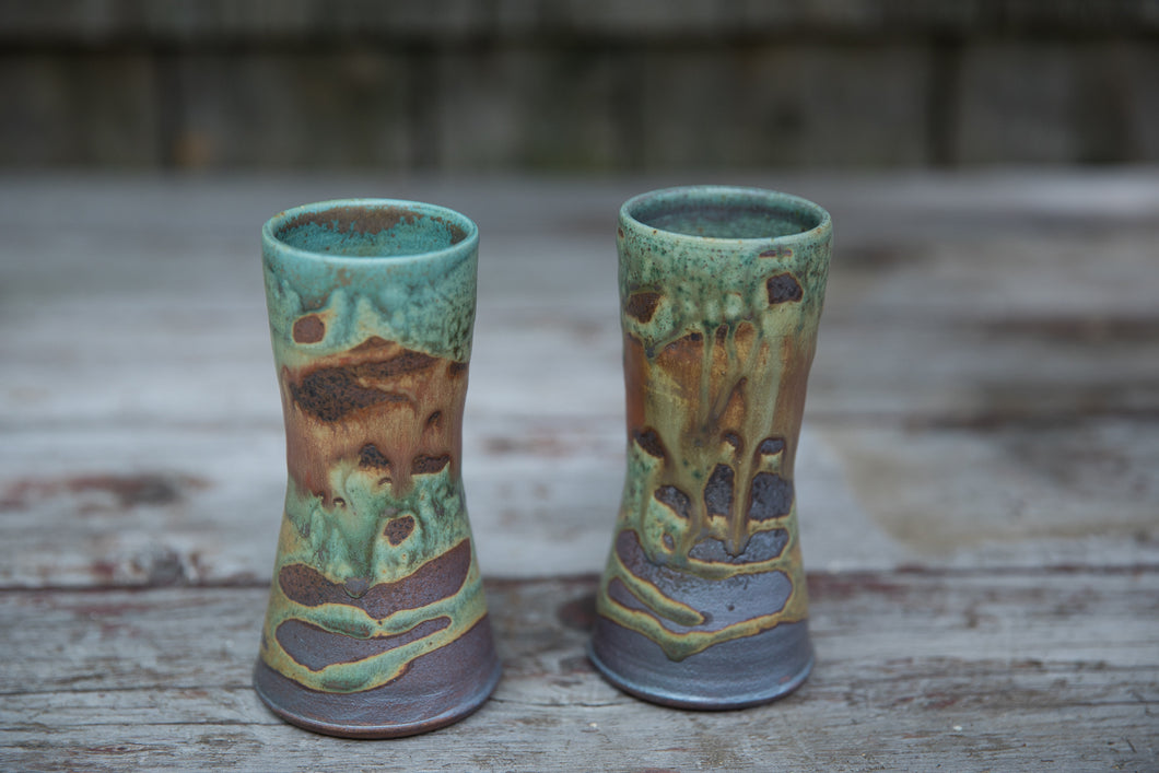 Pair of Tumblers in Turquoise & Rust