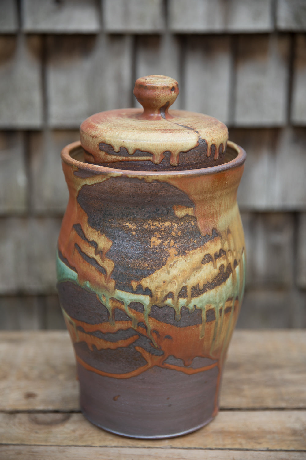 Fermentation Crock in Rust and Turquoise
