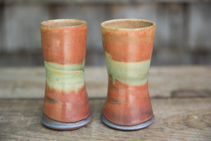 Pair of Tumblers, Rust with Turquoise