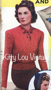 1940s Knitting Pattern for Women's 'Sweetest Thing' Lace Jumper - Good Needlework Magazine February 1940 - Digital PDF