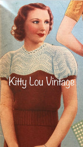 1930s Knitting Pattern for Women's Enchanting Jumper - Good Needlework Magazine May 1937 - Digital PDF