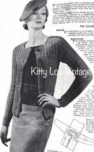 Load image into Gallery viewer, 1930s Knitting Pattern for Women's 'Newest Neckline' Twin Set - Mabs Magazine February 1935 - Digital PDF