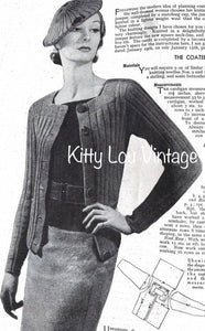 1930s Knitting Pattern for Women's 'Newest Neckline' Twin Set - Mabs Magazine February 1935 - Digital PDF