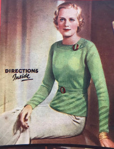 1930s Knitting Pattern for Women's Square Neck Jumper with Tab Detail - Good Needlework Magazine December 1934 - Digital PDF