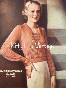 1930s Knitting Pattern for Women's Afternoon Jumper - Good Needlework Magazine December 1934 - Digital PDF