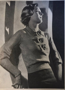 1930s Knitting Pattern for Women's Bow Jumper with Turn Down Collar - 1930s Good Needlework Magazine - Digitial PDF