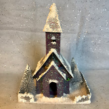 Load image into Gallery viewer, Handmade Vintage Style Glitter Putz Church - Purple