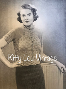 1930s Knitting Pattern for a Women's Leaf Stitch Jumper 'Just the one for Parties'  - Digital PDF