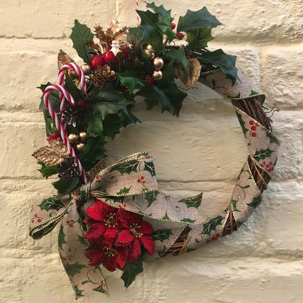 Handmade Vintage Inspired Christmas Wicker Wreath - Candy Cane & Poinsettia