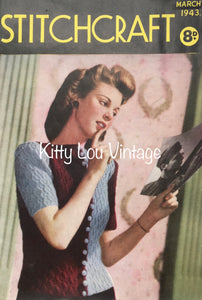 1940s Stitchcraft Magazine March 1943 - Vintage Knitting Pattern Book PDF - Digital PDF