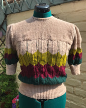 "Load image into Gallery viewer, 1940s Style Hand Knit Chevron Jumper - Bust 35"" Waist 28"" - UK Size 10/12"