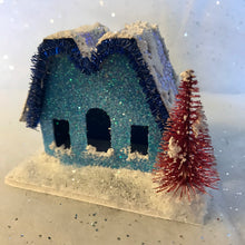 Load image into Gallery viewer, Handmade Vintage Style Glitter Putz House - Blue