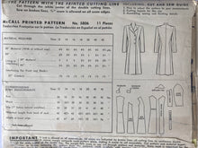 "Load image into Gallery viewer, 1940s McCall 5806 - Size 18 Bust 36"" - Coat Pattern - Complete"