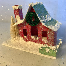 Load image into Gallery viewer, Handmade Vintage Style Glitter Putz House - Red