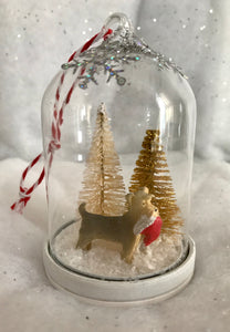 Christmas Scene Glass Tree Ornament - Dog with Santa Hat