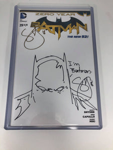 DC Batman #29 (2014) Blank Cover Variant DOUBLE signed and REMARK by Scott Snyder NM