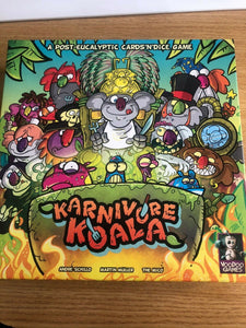 Karnivore Koala Dice & Card Game Kickstarter Edition with Graverobbear Expansion PRE OWNED