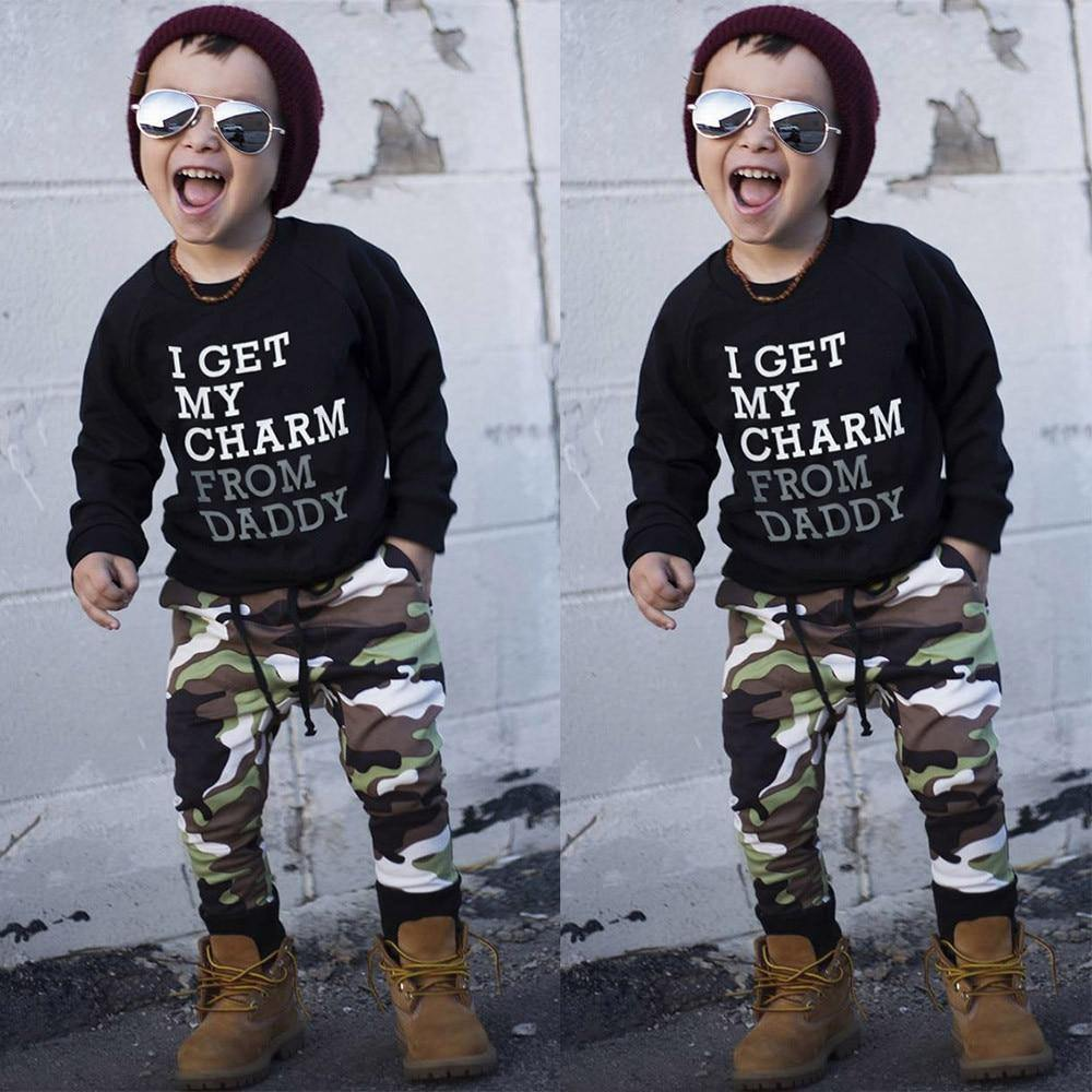 """I Get My Charm From Daddy"" Army Clothes Set"