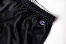 "Load image into Gallery viewer, Black ""Phys Ed"" Mesh Shorts"