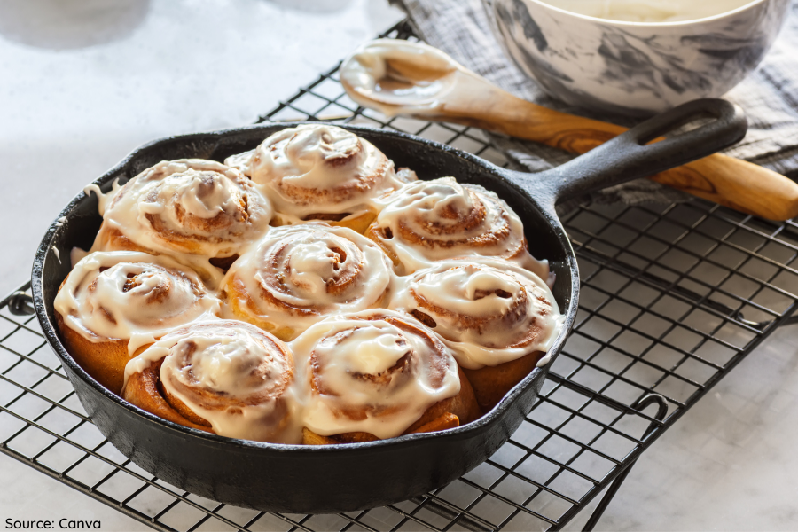 Vegan Cinnamon Rolls layout in a pan