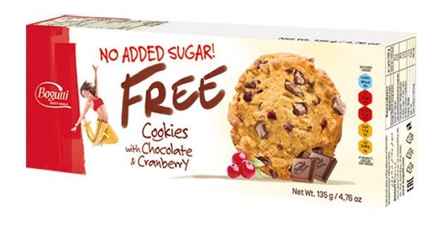 Bogutti No Added Sugar Free Chocolate & Cranberry Cookies 135g