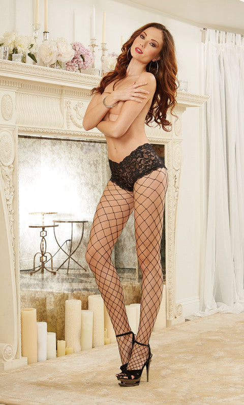 DG 0029 Fence Net Pantyhose with Lace Short