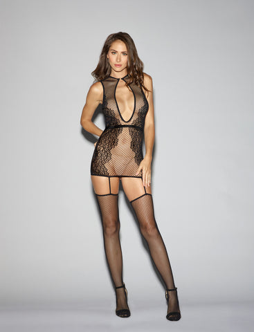 Bodystocking DG 0287 Fishnet & Knitted Garter Dress