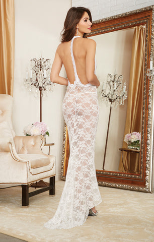 DG 10131 Pearl White Lace Gown